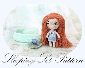 PATTERN: Sleeping Set Pattern,Amigurumi Crochet  (Doll Pattern - Sold SEPARATELY) English Only