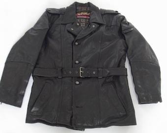 vintage black leather motorcycle jacket, motor coat, rockers jacket, cafe racer, Chrome Bandits, size 56