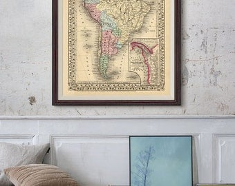 south america map 1870 south america political map america old map vintage decor