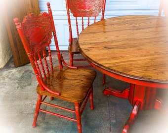 Farmhouse Kitchen Table and Chairs w/ leaf, oak dining room table, Red, shabby chic kitchen table, set, round dining table, french country