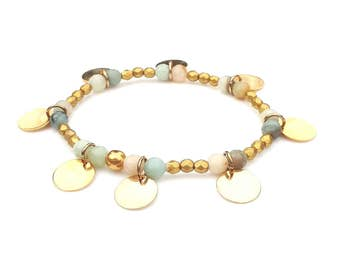 Stunning Semi Precious Amazonite Gold Plated Disc Charm Bracelet with Matt Metallic Gold Czech Faceted Beads