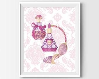 Cottage Chic Decor, Printable Wall Art, Perfume Bottle Print, Bathroom Vanity, Makeup Vanity Art, Bedroom Decor, Pink Makeup Vanity Decor