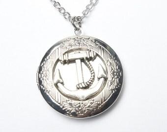 Anchor Locket Necklace Sailboat Locket Vintage Locket Necklace Nautical Locket Secret Locket Antique Locket