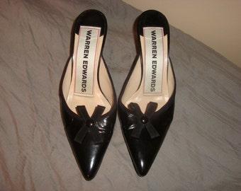 Black Patent Leather Warren Edwards Mules 7.5M