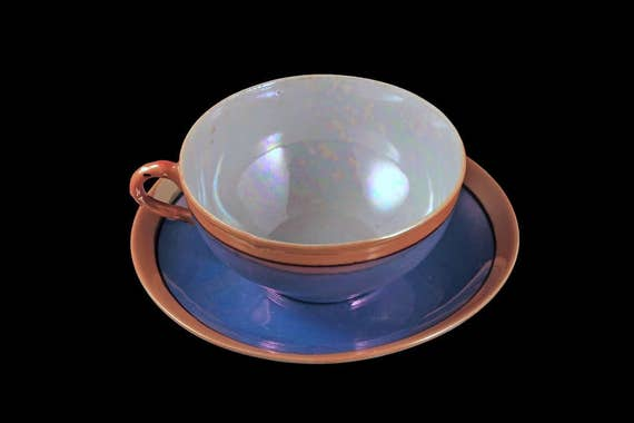 Teacup and Saucer, Nippon, Lusterware, Iridescent, Made in Japan, Peach Trim, Black Line, Handpainted