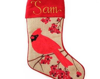 Personalised Burlap Cardinal Bird Christmas Stocking