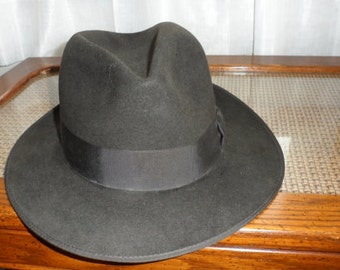Vintage Charcoal Gray High Crown Fedora/Made by Crean Dura Craft Hats/Made in Canada/Wool Felt Fedora/Great Vintage Condition Fed
