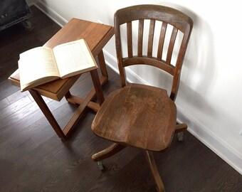 Antique OAK OFFICE CHAIR on Casters, Vintage Swivel Desk Chair, Vintage Swivel Desk Chair