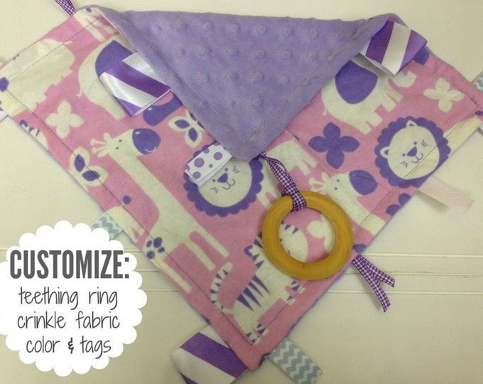 Baby Sensory Tag Blanket | Options: Natural Teething Ring, Crinkle Material, Color | Jungle Animals