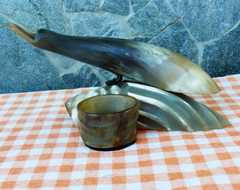 Vintage Hand Carved Horn Bird Sculpture, Vintage Ashtray Horn Bird, 1980s Ashtray, Gift For Him