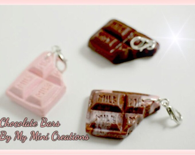 Chocolate Bar Charm Set, Polymer Clay,  Miniature Food, Miniature Food Jewelry