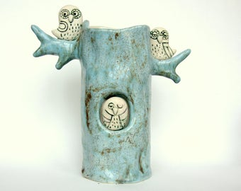 Ceramic vase / Owl/ Owl  ceramic  vase/Blue/Made to order