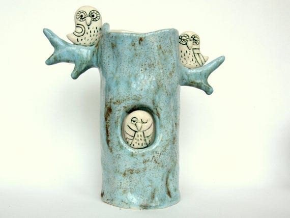 Ceramic Vase Owl Owl Ceramic Vase Blue Made To Order
