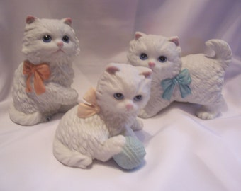 Three White Cat Figurines Homco