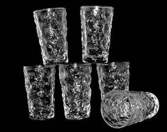 Glass Juice Milano Clear Anchor Hocking Bark Textured
