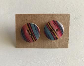 Striped wood button stud earrings