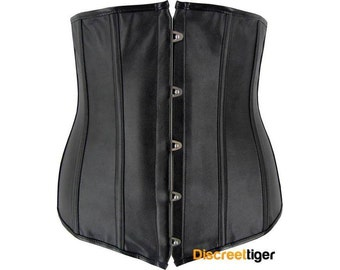 Black Corset Faux Leather Underbust DTS00397