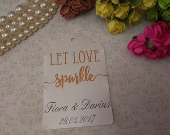Shimmer pearl let love sparkle tag - Sparkle tags - Wedding favor tag - Personalized wedding- let love tags - set of 25 to 300 pieces
