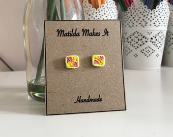 Batternberg stud earrings, polymer clay stud, realistic cake earrings