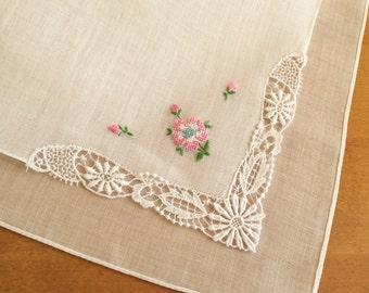 Wedding Hankie, Ladies Handkerchief, Lace Hankie, Embroidered Hankie, Unused