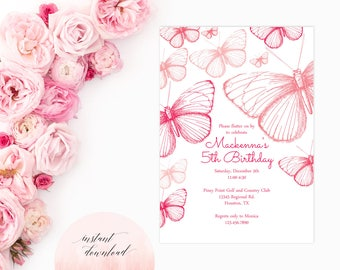 printable pink butterfly party invitation, butterfly birthday invitation, butterfly invitation, birthday invitation, baby shower