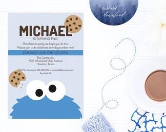 cookie monster invitation, sesame street printable birthday invitation, birthday, invitation, cookie monster party, printable invitation