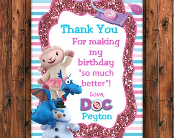 Doc McStuffins Thank You Card, Doc McStuffins Birthday Invitation, Birthday Invitation, Personalized Thank You, Chilly, Lambie, Stuffy, Doc