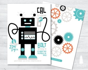 robot birthday invitation, robot invitation, modern robot birthday invitation, robot birthday party