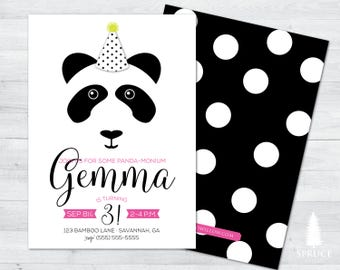 panda birthday invitation, panda birthday party, panda birthday invite, panda party supplies, panda party, panda birthday