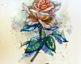 """Original Watercolor Painting, Orange Rose, with mat 10""""x8"""", 1612142"""