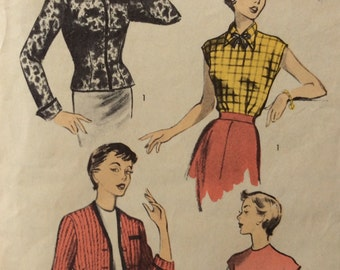 Advance 5622 junior misses blouse and cardigan size 13 bust 31 vintage 1950's sewing pattern