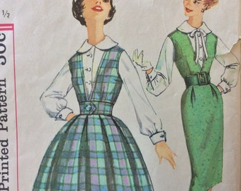 Simplicity 3079 junior misses blouse & jumper w/two skirts size 11 bust 31.5 bust 31 1/2 vintage 1950's sewing pattern