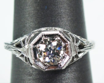 Antique 18k White Gold Diamond Engagement Ring .36 Carat GIA Certified Old European Cut Diamond Engagement Ring Filigree Solitaire Art Deco