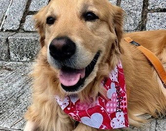 Hearts Dog Bandana    Personalized Pet Scarf    Reversible Custom Gift by Three Spoiled Dogs