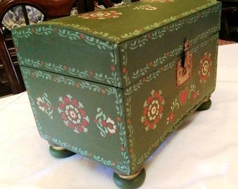 Rescued & Reimagined Antique Miniature Chest / Trunk - Now a Beautiful Folk Art Chest