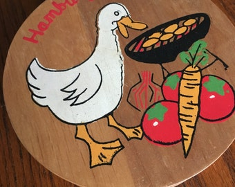 Hamburger Patty Press Vintage Wooden Roosters