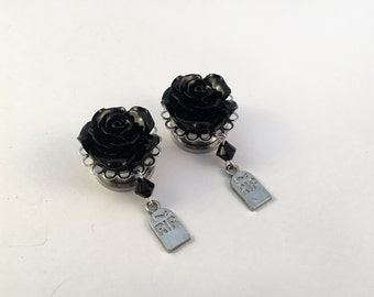 Gothic Gravestone Dangle Plugs (Pair) Stainless Steel With Black Roses, For Stretched Ears, 6mm 8mm 10mm 12mm 14mm 16mm 18mm 20mm 22mm