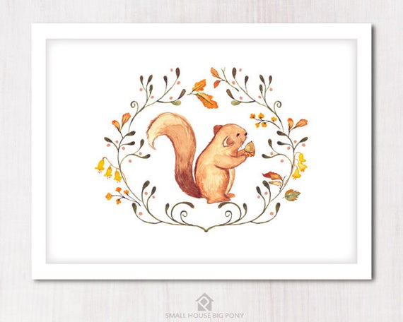 Watercolour Digital Wall Art , Nursery Decor, Baby Shower Gift- Hand Painted- Sweet Squirrel 1 Printables