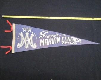 Vintage Felt Travel Pennant - Marian Congress - Ottawa