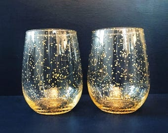 Starry Gold Stemless Wine Glasses - Set of 2 Handpainted Gold Star Constellation Wine Glasses - Custom Order Your Own Set