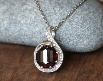 Holiday Sale: Art Deco Inspired Diamond and Garnet Pendant 925 Sterling Silver Necklace January Birthstone Gemstone Drop Necklace