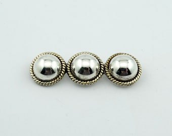 Simple Clean Sterling Silver/Gold Half Domed Sphere Brooch  #SPHERES-BR1