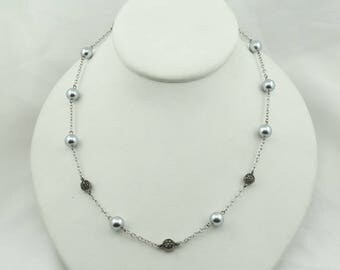 Vintage Sterling Silver Hollow 8 mm Round Beads And Marcasite On A 17 1/2 Inch Silver Chain  #SSMARC-BN2