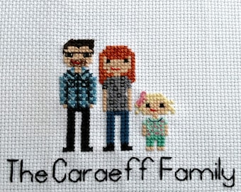 Custom Cross Stitch Family Portrait Pixalized | 2nd Second Cotton Anniversary | Couple | Personalized | Engagement | Wedding | Gift  Present