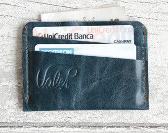 Mens wallet - minimalist wallet - italian leather petrol blue - card holder // Leather wallet // minimalist wallet // mens leather wallet.