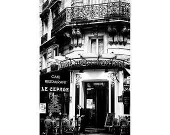 Living Room Decor Paris Photography, Black and White Print, Architecture Picture, City Photograph, large size wall art for hallway