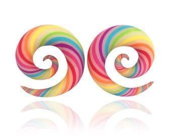 "Tropical Ear Candy Rainbow Spirals  - Fake, 4g, 2g, 0g, 00g, 7/16"", 1/2"", 9/16"", 5/8"", 11/16"",  3/4"" - Rainbow Spiral Gauges"