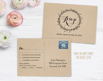 Rsvp postcard | Etsy