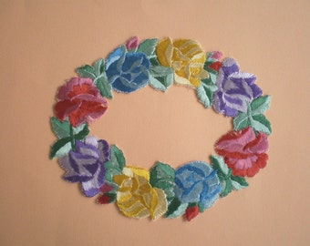 Great old embroidered flowers wreath, floral embroidery, stick application