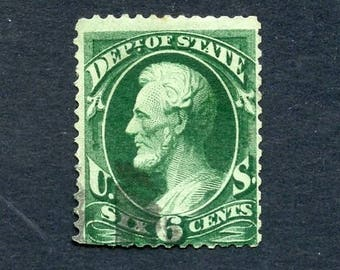 1873 US Department of State Postage Stamp 6 Cent Green Abraham Lincoln Used Hinged  SC # O60 Continental Banknote Company - 8197Pa